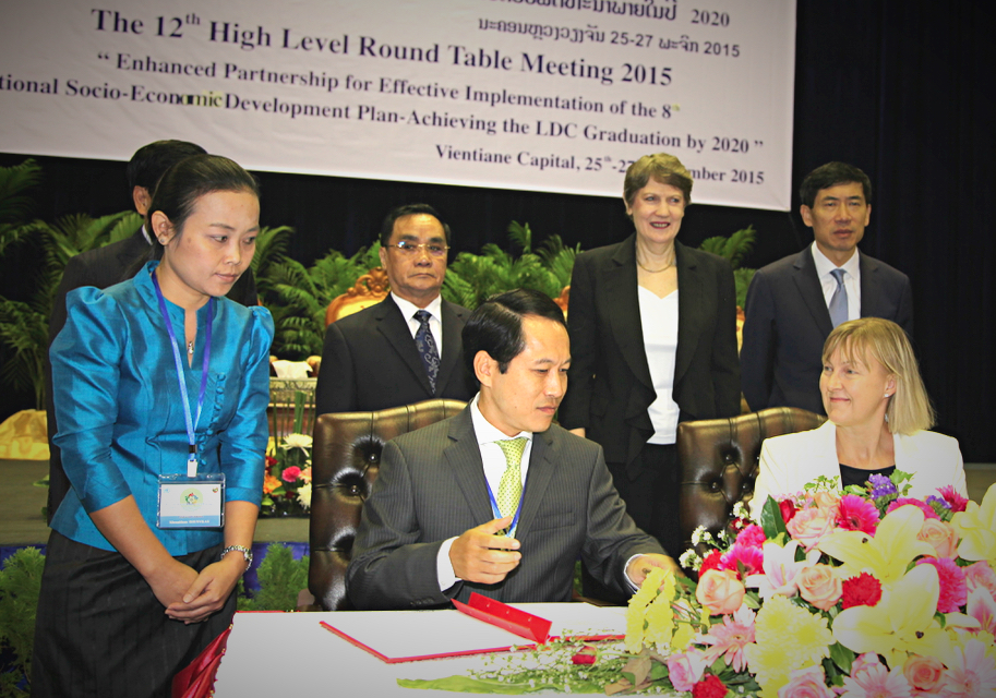 The Vientiane Partnership Declaration was signed at the 12th High Level Round Table Meeting on 27 November 2015 in Vientiane
